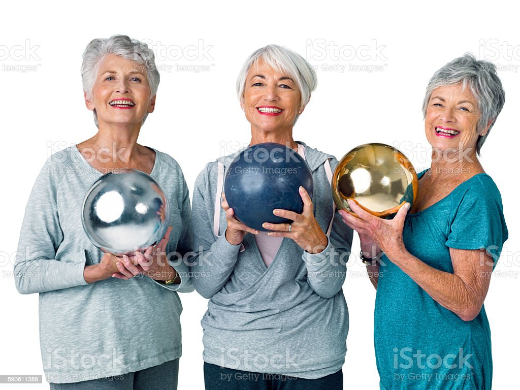 We joined a bowling club! stock photo