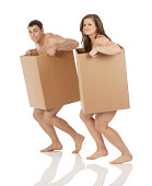 istock We lost everything! Naked couple in cardboard boxes 172468525