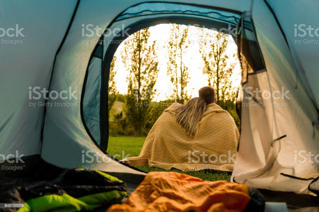We love camping stock photo