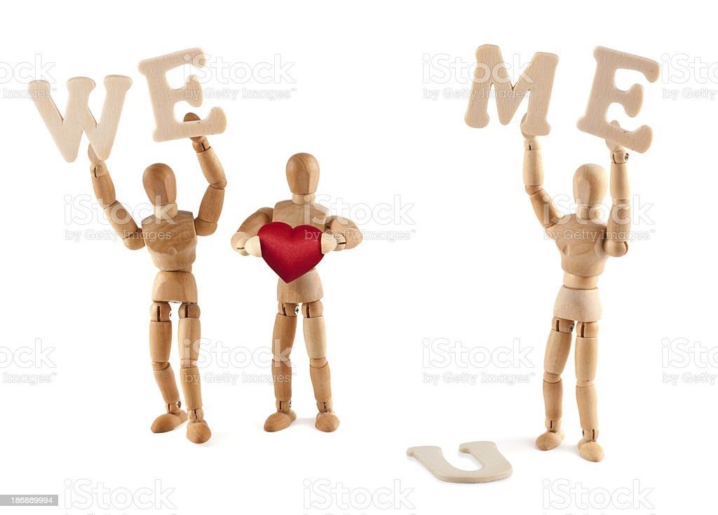 We love me? wooden mannequin with good self-esteem royalty-free stock photo