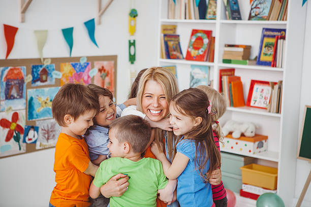 we love our teacher - preschool stock photos and pictures
