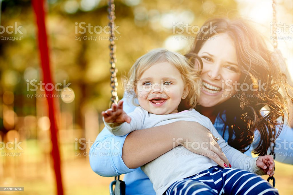We love swinging! stock photo