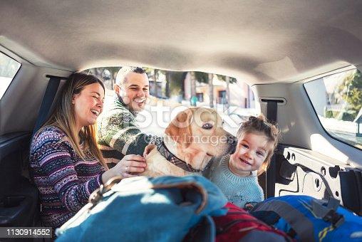 Happy family preparing for winter road trip
