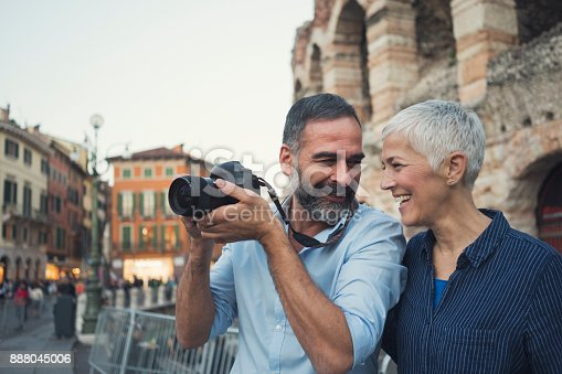 Mature couple as tourist in city Verona