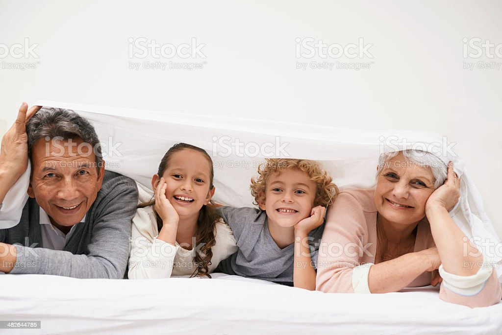 We love weekends with granny and gramps stock photo