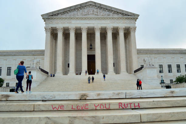 We love you Ruth Washington DC, USA September 25, 2020 A well wisher leaves a note for the late Supreme Court Justice Ruth Bader Ginsburg on the steps of the United States Supreme Court in Washington, DC ruth bader ginsberg stock pictures, royalty-free photos & images