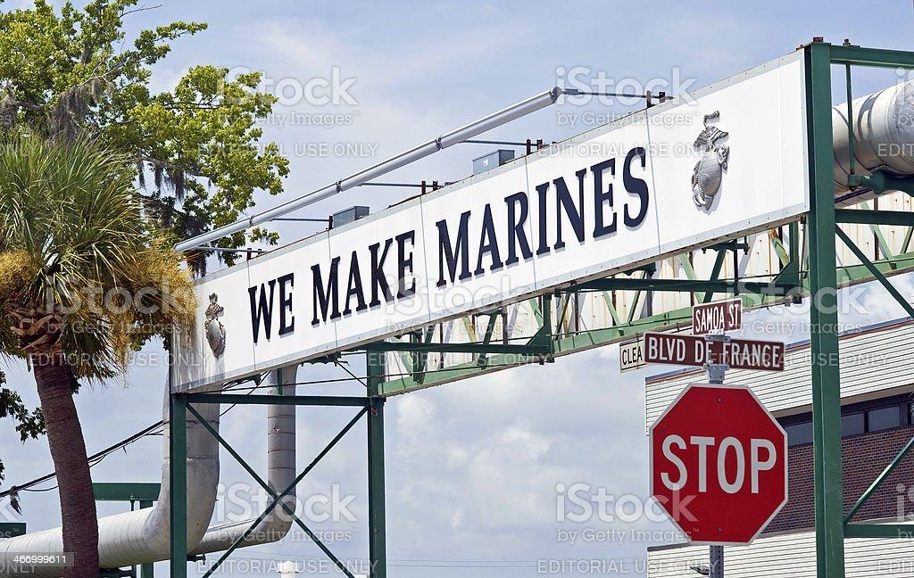 'We Make Marines' Sign stock photo