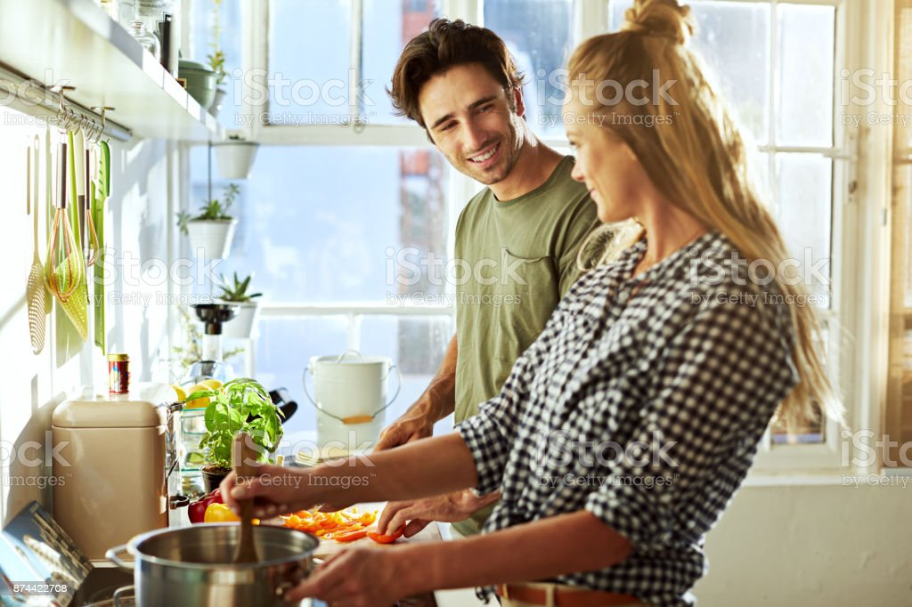 We make the best dishes together stock photo