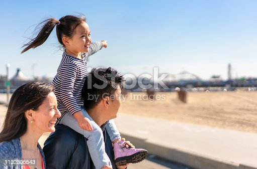 A girl, on her Dad's shoulders, pointing towards the fairground attractions on Santa Monica Pier.