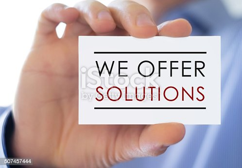 istock We offer solutions - business card 507457444