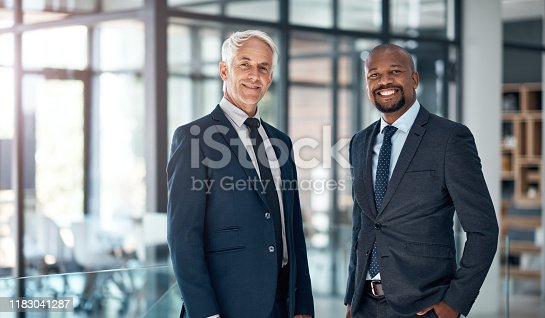 Portrait of two confident businessmen working together in a modern office