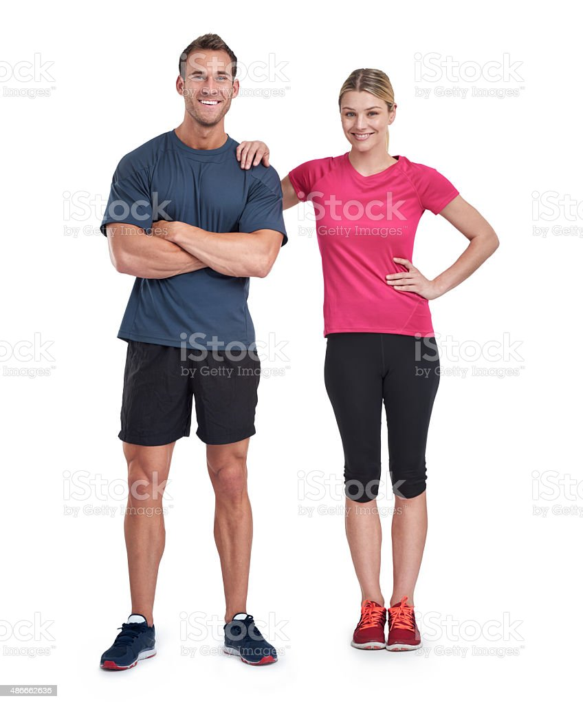 We push each other to greater fitness levels stock photo