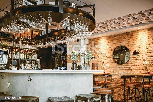 Still life shot of an empty bar inside a beautiful modern cafe