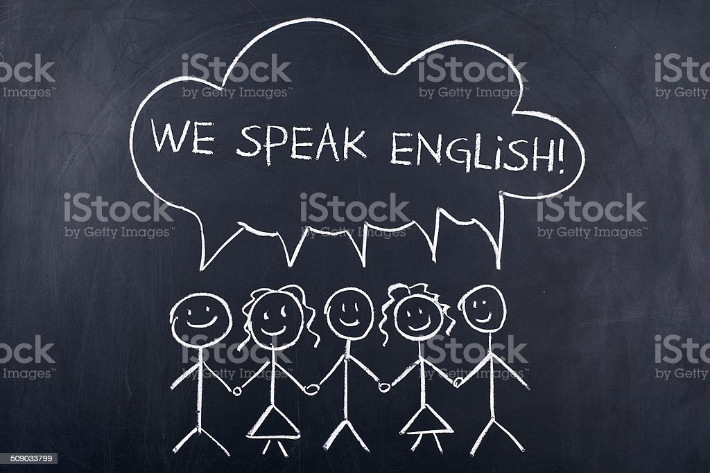 We Speak English stock photo
