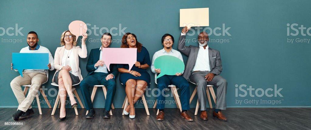 We speak the language of success stock photo