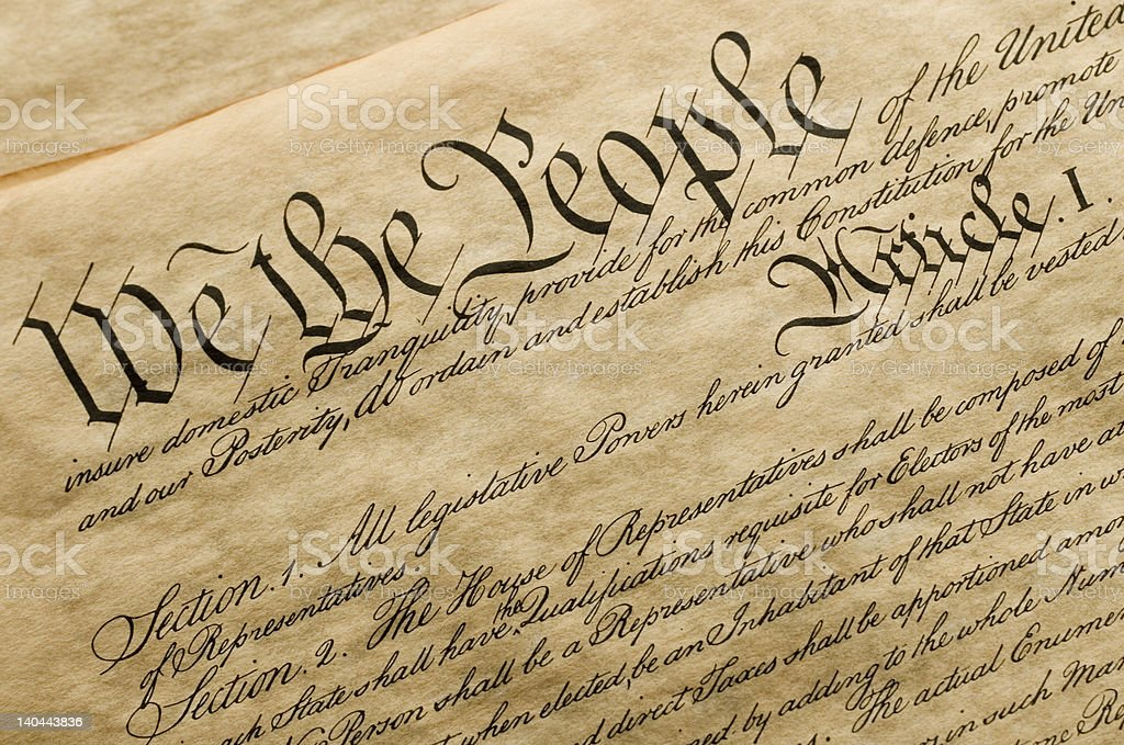We the People This is a copy of the cover of the U.S. Constitution. American Culture Stock Photo