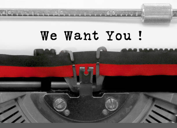 we want you text by the old typewriter on white paper - audition stock photos and pictures