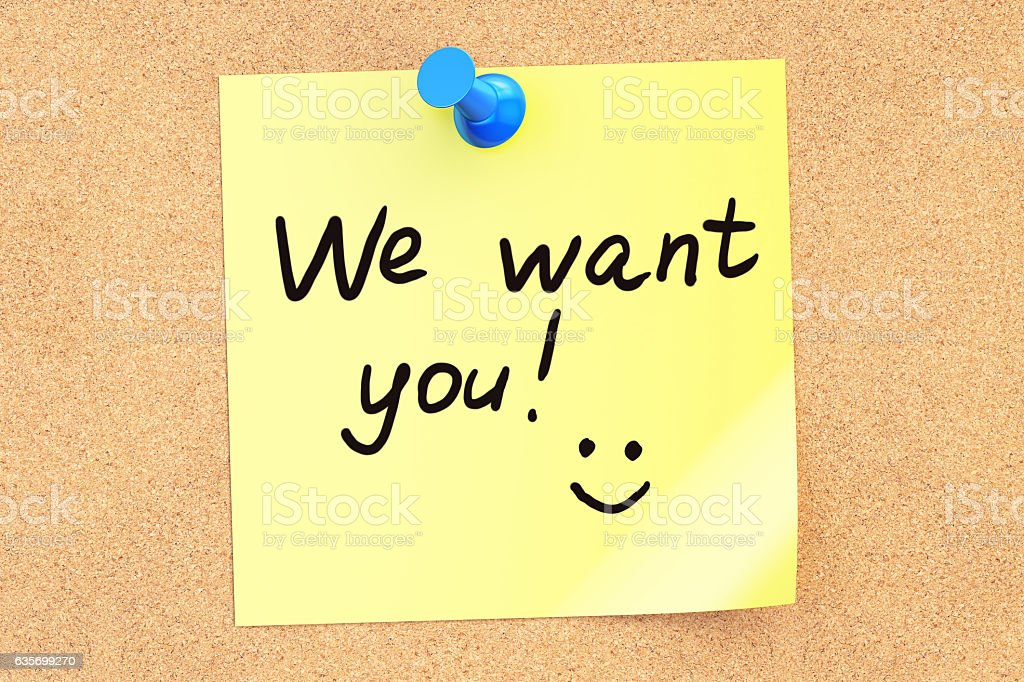 We want you! Text on a sticky note royalty-free stock photo