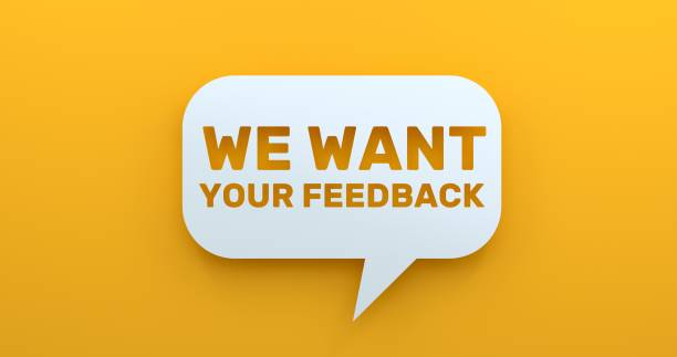 We Want Your Feedback. White Chat Bubble On Yellow Background We Want Your Feedback. White Chat Bubble On Yellow Background questionnaire stock pictures, royalty-free photos & images