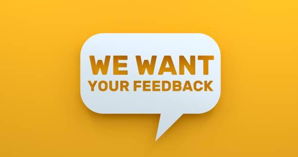 vi vill ha din feedback. vit prat bubbla på gul bakgrund - lyssna bildbanksfoton och bilder