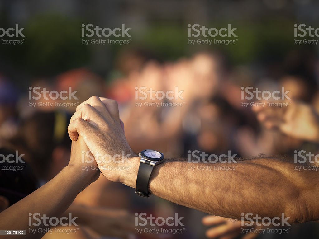 We won - People congratulating each other royalty-free stock photo