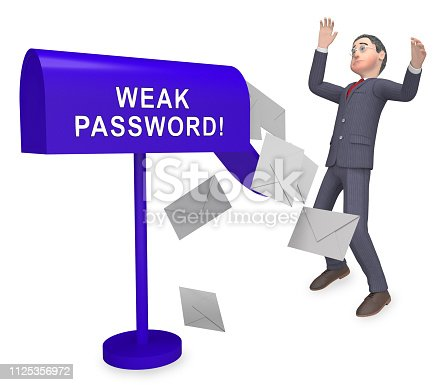 istock Weak Password Postbox Shows Online Vulnerability And Internet Threat - 3d Illustration 1125356972