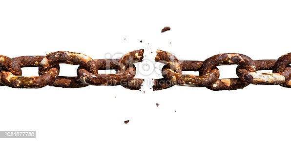 Isolated on white background rusty chain. Middle link is falling apart. Photomontage