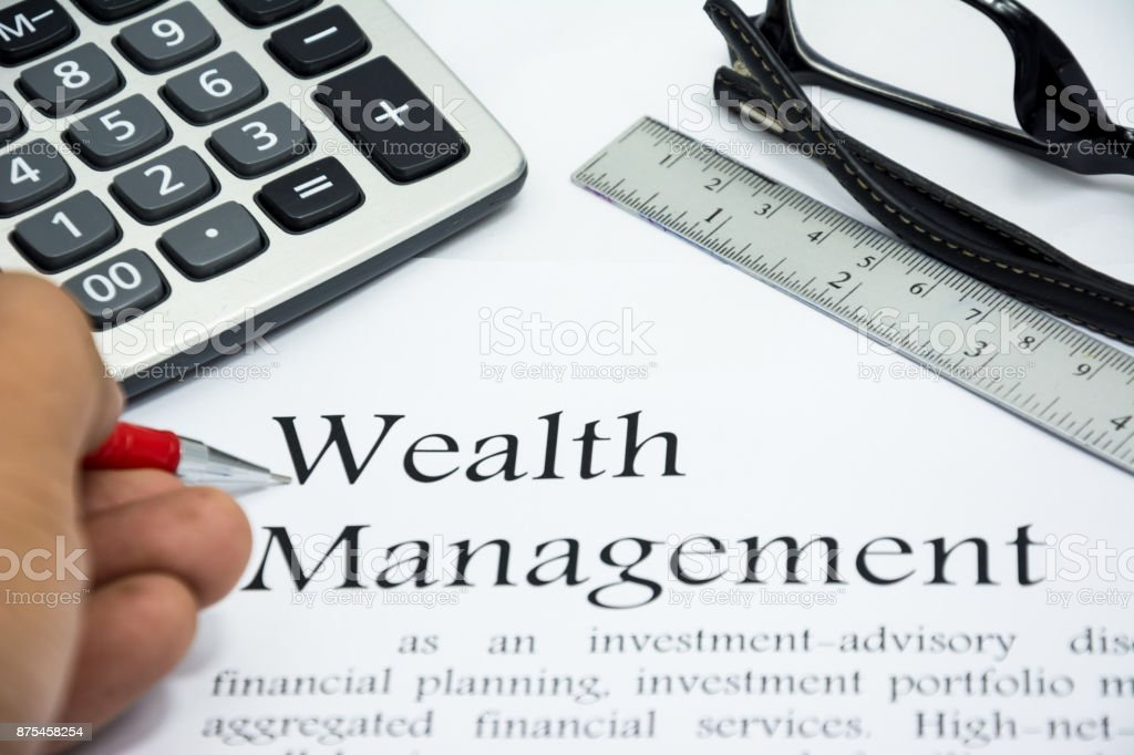 wealth management text of business concept background stock photo