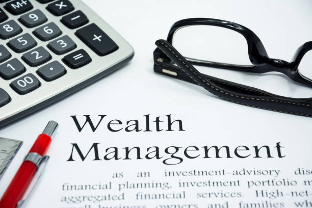 wealth management text of business concept background - foto stock