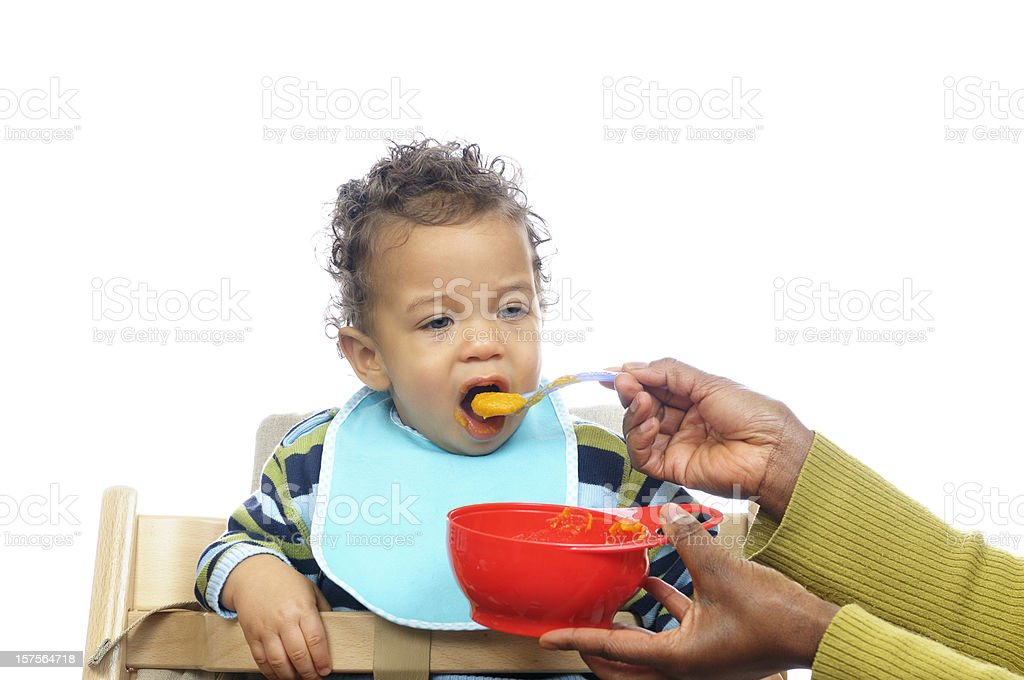 Weaning Baby Having Homemade Food royalty-free stock photo