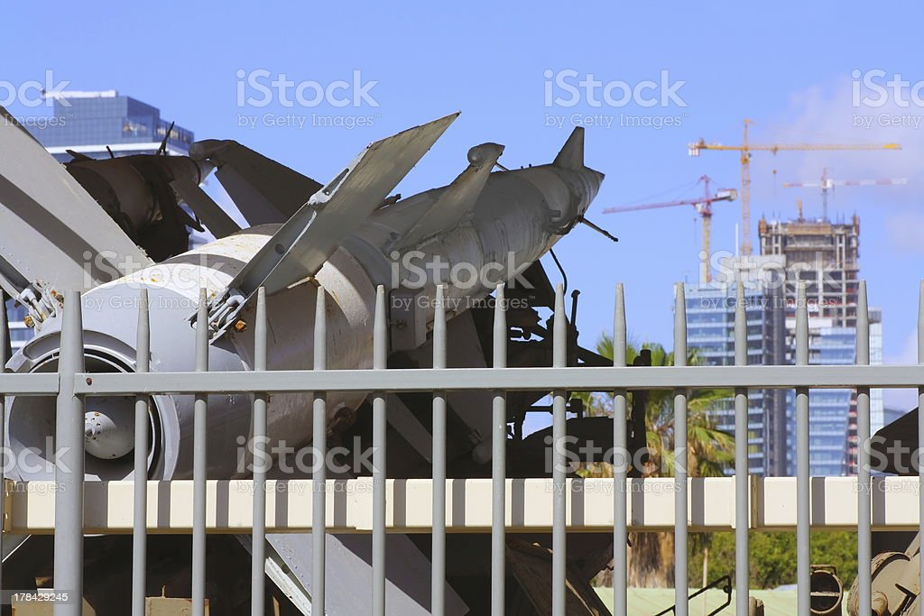 weapon directed on peace construction royalty-free stock photo