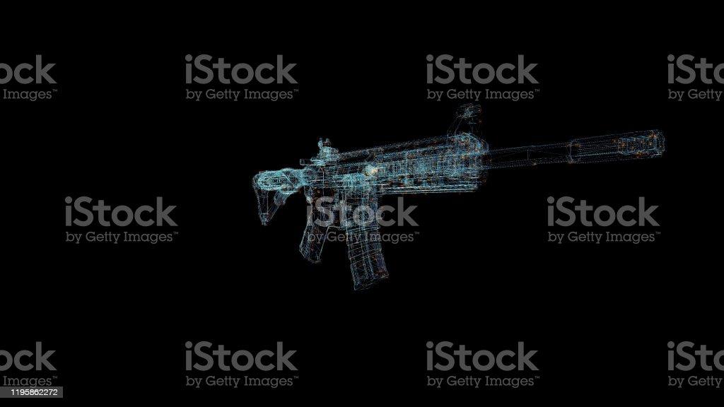 Waffe Hologramm Drahtbild Nice 3d Render Auf Schwarzem Hintergrund Stockfoto Und Mehr Bilder Von Arm Anatomiebegriff Istock