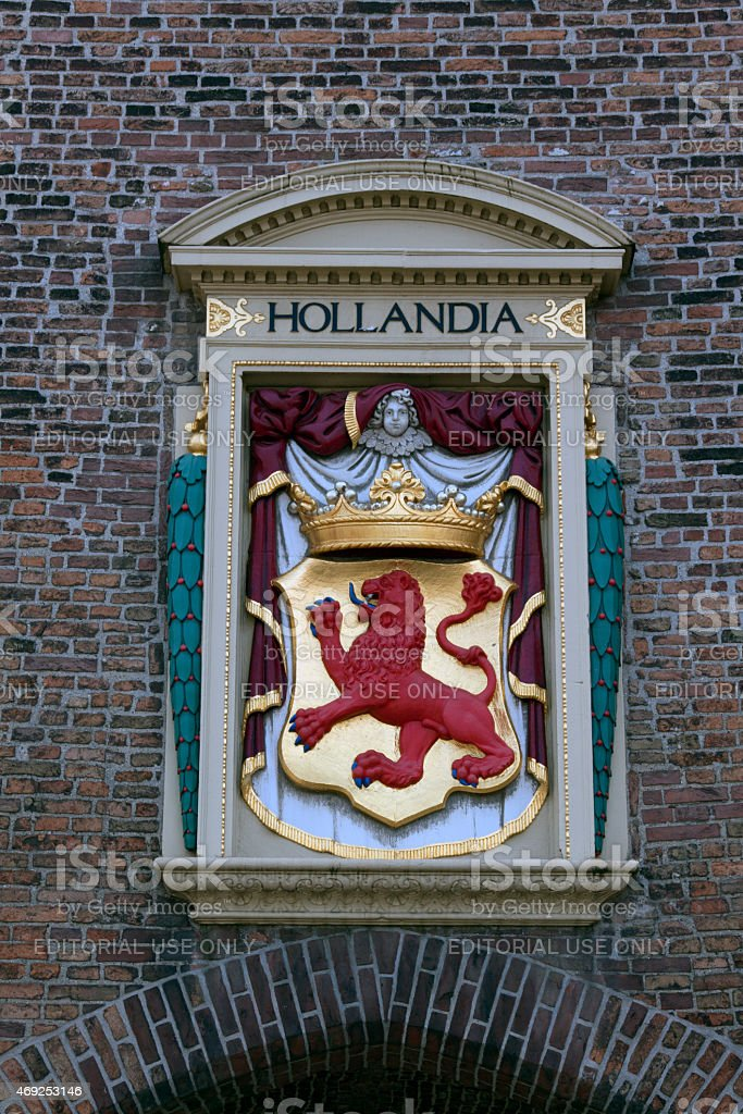 Weapon of Holland at a wall in the Hague stock photo