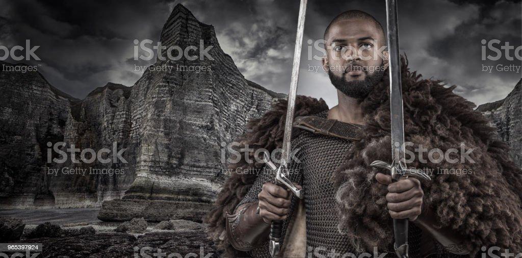 武器揮舞維京人啟發黑武士獨自 - 免版稅一個人圖庫照片