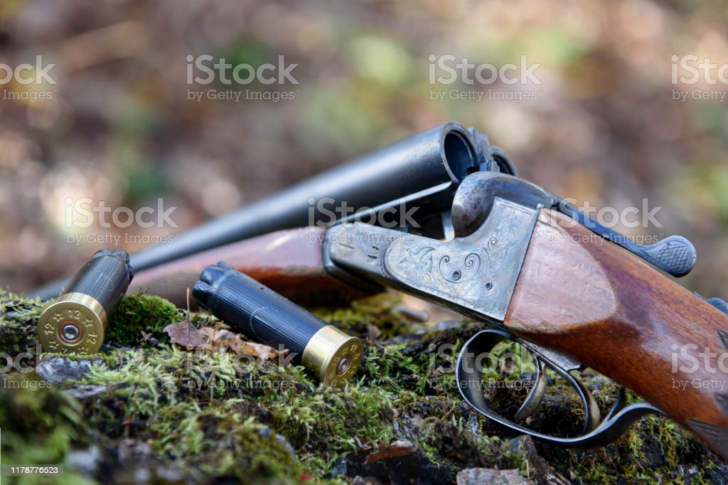 Weapons and cartridges lie on a tree. - Royalty-free Adulto Foto de stock
