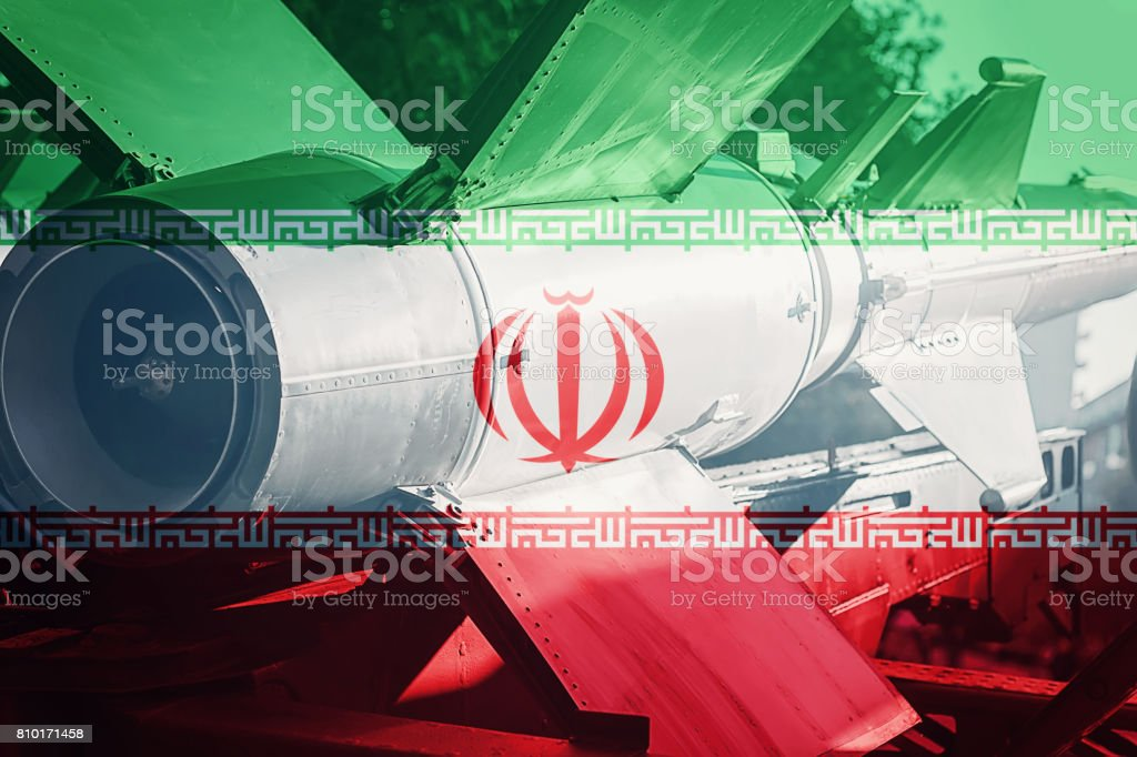 Weapons of mass destruction. Iran ICBM missile. War Background. stock photo