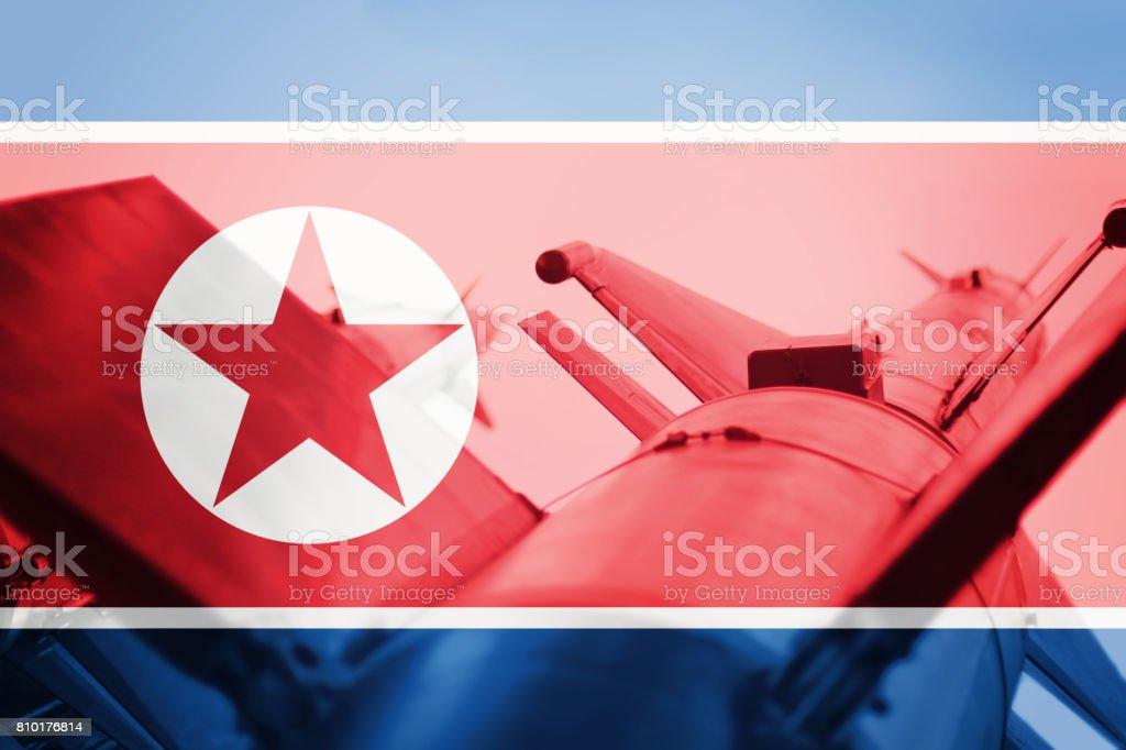 Weapons of mass destruction. North Korea ICBM missile. War Background. stock photo
