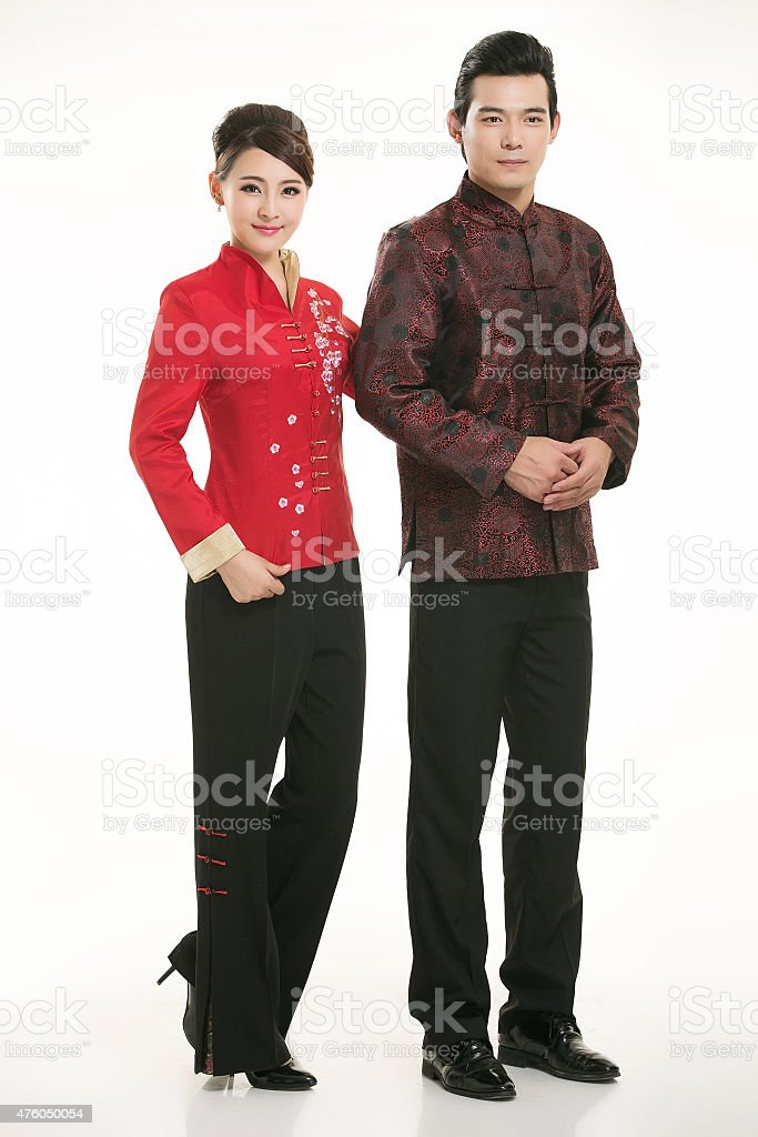 Wear clothing occupation Chinese waiters in white background stock photo