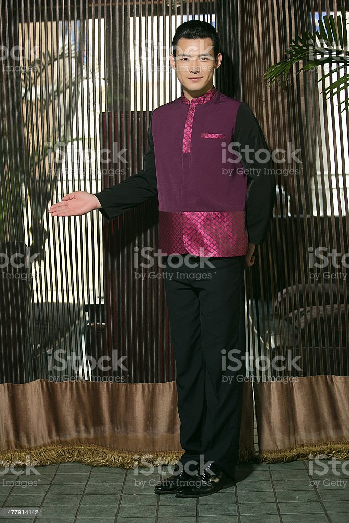 Wear clothing occupation Chinese waiters stock photo