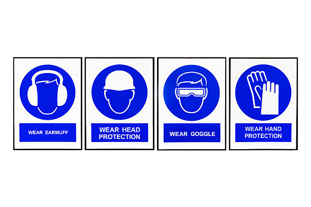 Wear earmuffs, head protection, goggles, hand protection sign, Wear earmuffs or earplugs, Wear head protection, Wear goggles, Wear hand protection, Blue and white Safety signs. safety american football player stock pictures, royalty-free photos & images