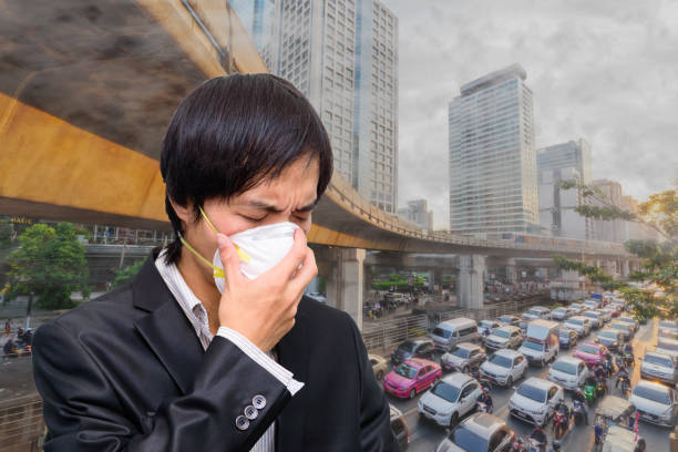 Wear Hygienic mask for protect PM2.5 Dust stock photo