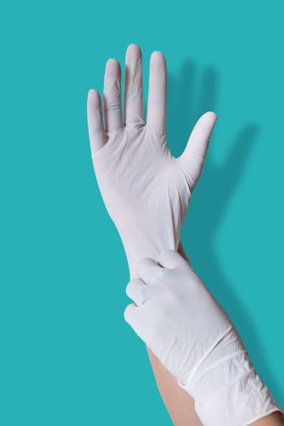 Wear medical gloves For cleanliness Prevent germs. Wear medical gloves For cleanliness Prevent germs. latex stock pictures, royalty-free photos & images