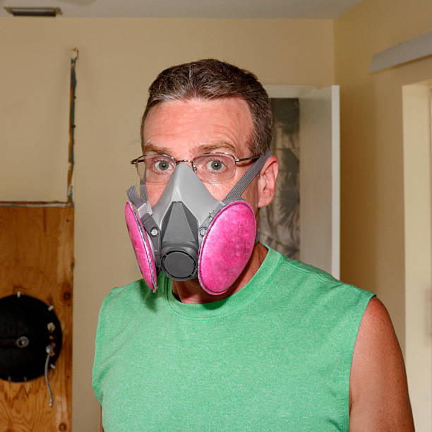 Wearing a Mold Mask stock photo