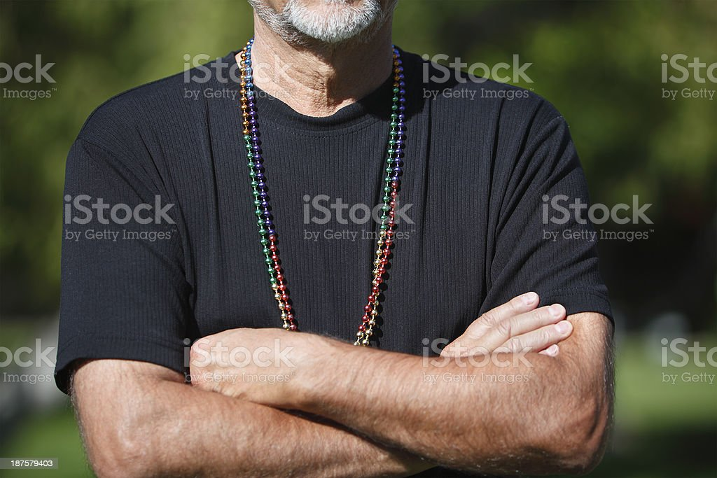 Wearing Beads With Pride royalty-free stock photo