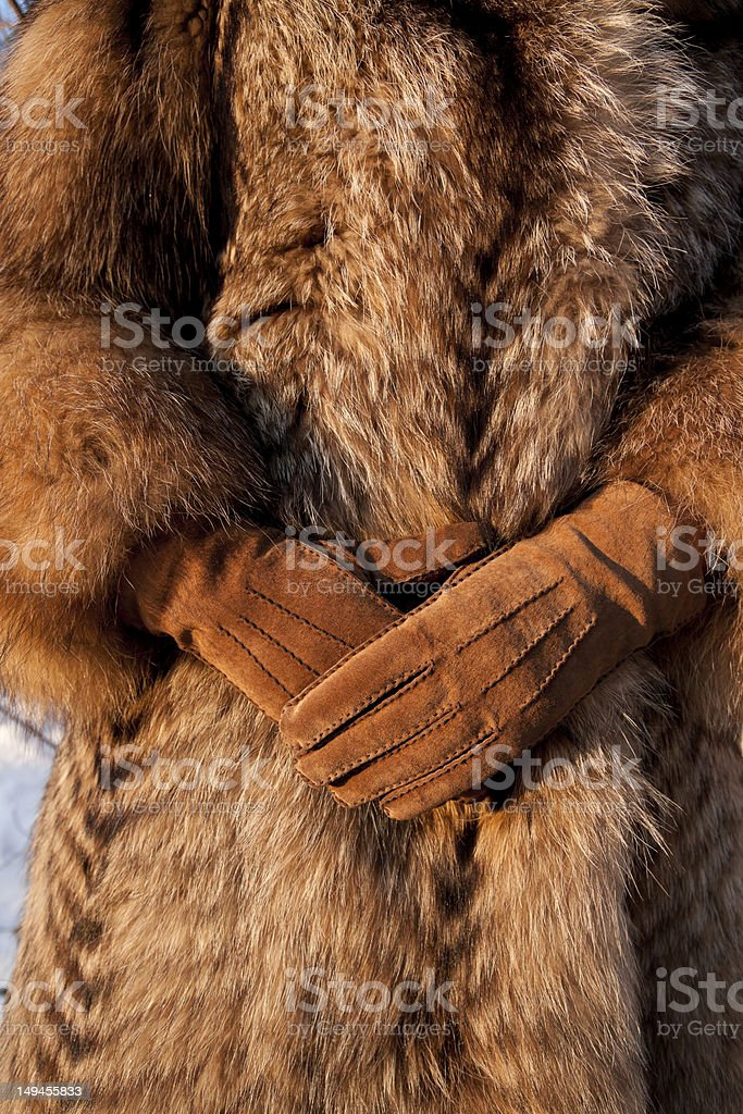 Wearing fur coat and gloves in cold winter stock photo