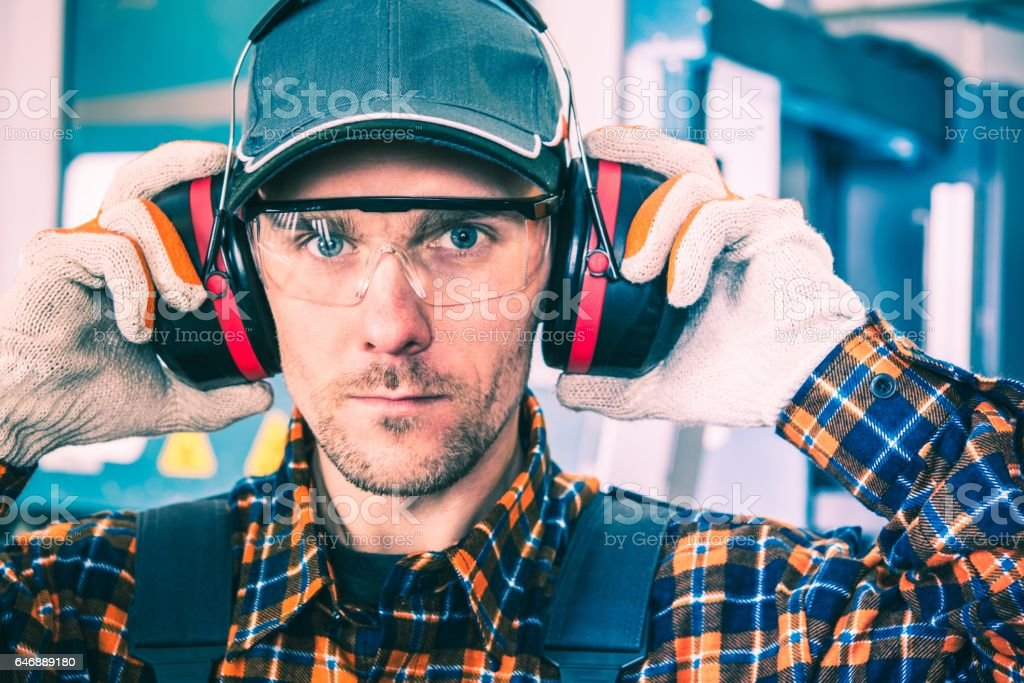 Wearing Hearing Protectors stock photo