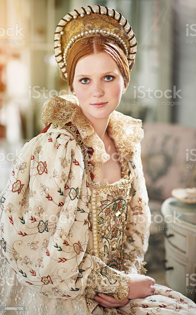 Wearing only the finest for her courtiers stock photo