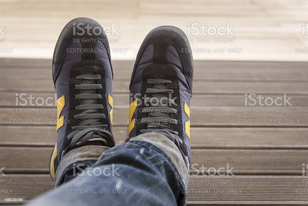 wearing the new balance shoes