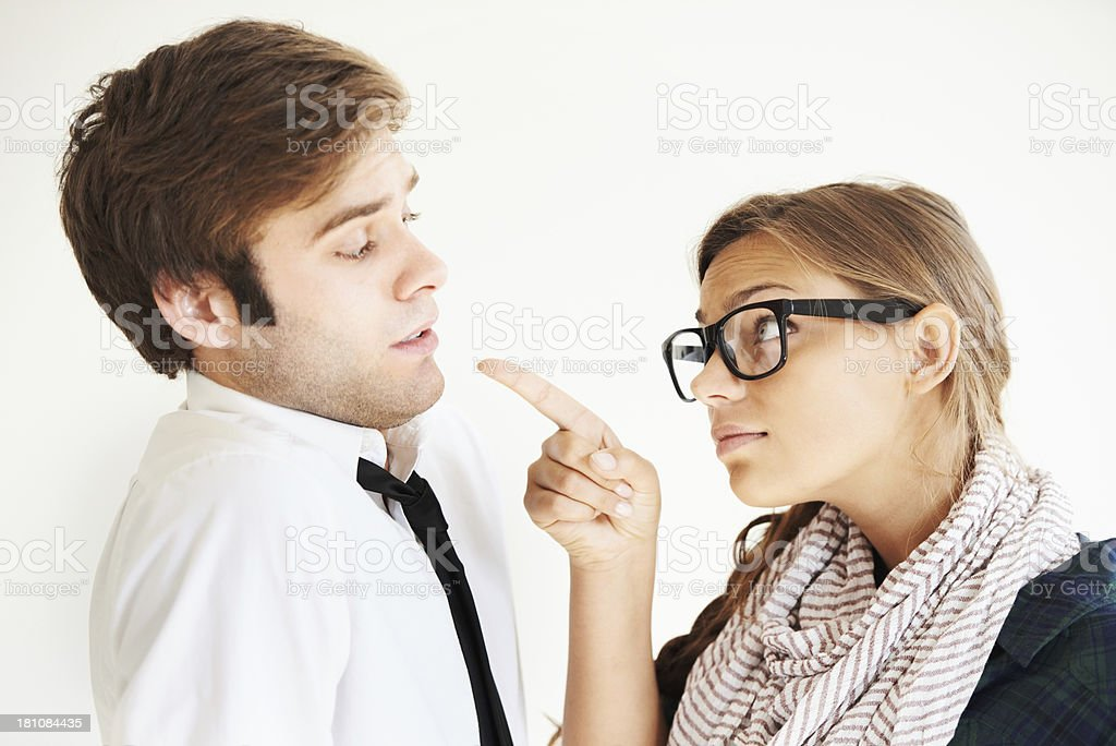 Wearing the pants in this relationship stock photo