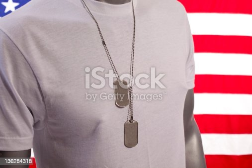 GI wearing t-shirt and dog tags with Flag in background